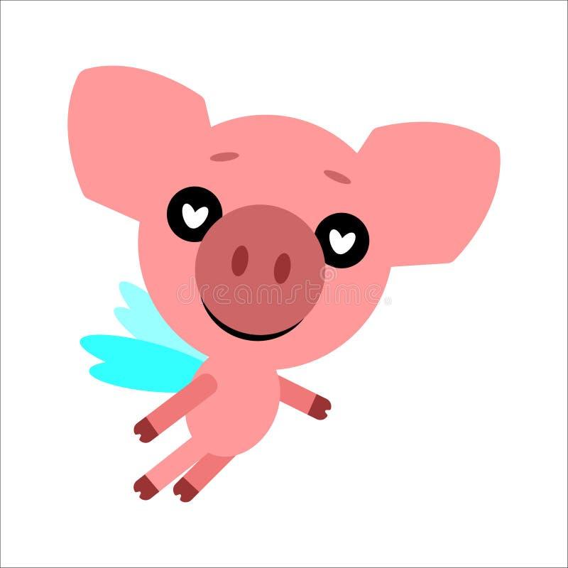 Un simbolo di 2019 Maiale sveglio di vettore Piggy nell'amore Priorità bassa bianca Progettazione piana Vettore illustrazione vettoriale