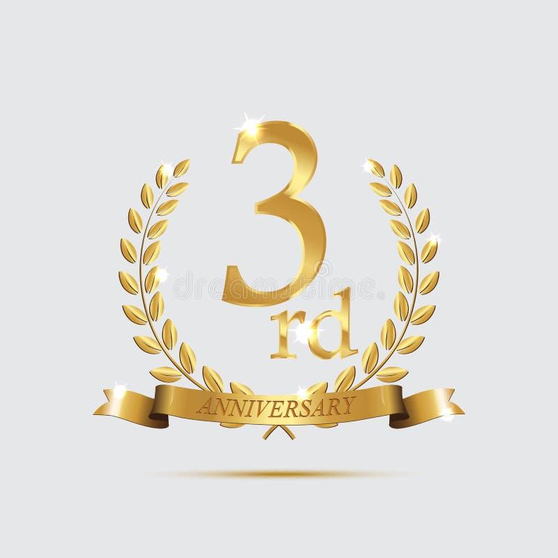 un simbolo dorato di 3 anniversari L'alloro dorato si avvolge con i nastri ed il simbolo di anno di terzo anniversario su fondo l illustrazione vettoriale