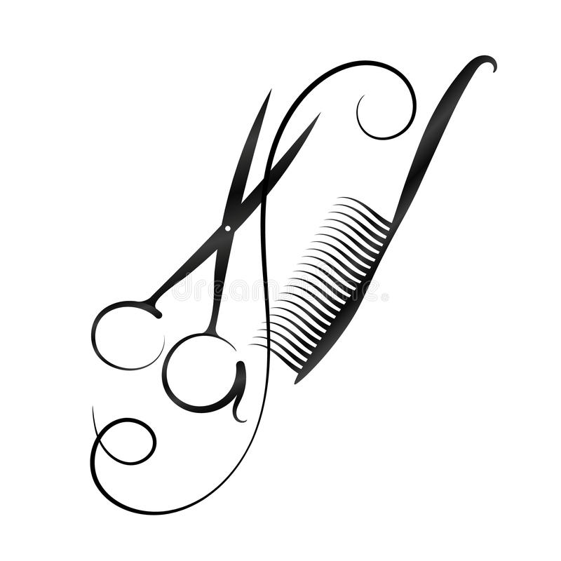 Un simbolo per un parrucchiere e un salone di bellezza Forbici e pettine s illustrazione di stock