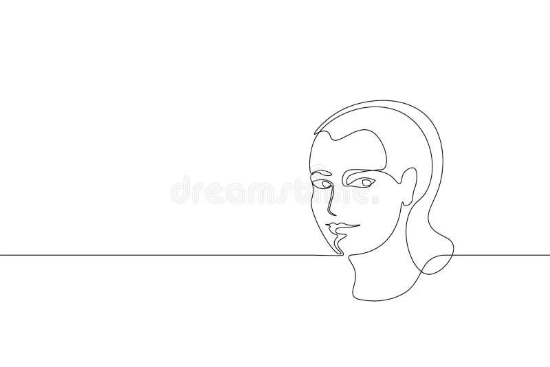 Un simple continu concept de visage de fille de schéma Croquis tiré par la main de beaux de femme de portrait cheveux de mode Bea illustration stock