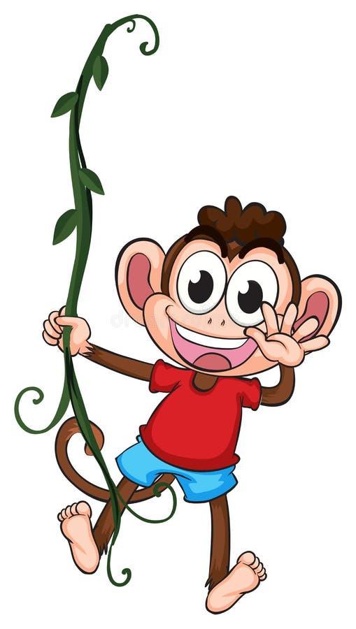 Un singe accrochant sur une usine illustration de vecteur