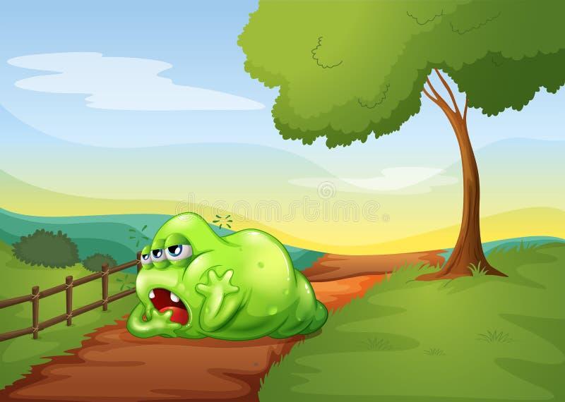 Un singe fatigué se reposant au milieu de la voie dans la colline illustration stock
