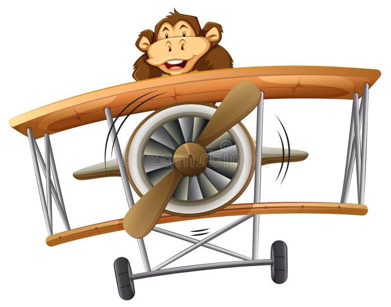 Un singe montant l'avion classique illustration libre de droits