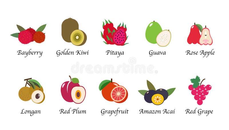 Un sistema aislado fruta orgánica de la colección del vector de la salud de la naturaleza libre illustration