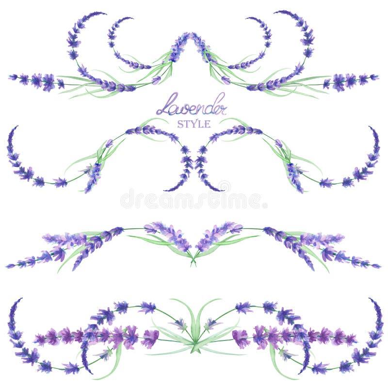 Un sistema con las fronteras del marco, los ornamentos decorativos florales con la lavanda de la acuarela florece para la boda o  libre illustration