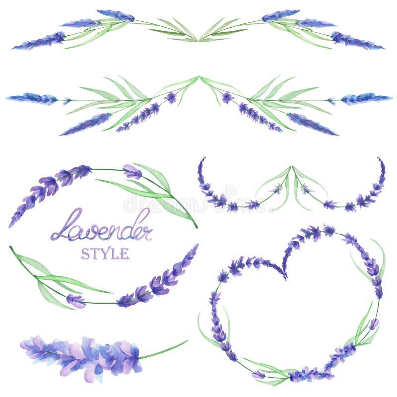 Un sistema con las fronteras del marco, los ornamentos decorativos florales con la lavanda de la acuarela florece para la boda o  stock de ilustración