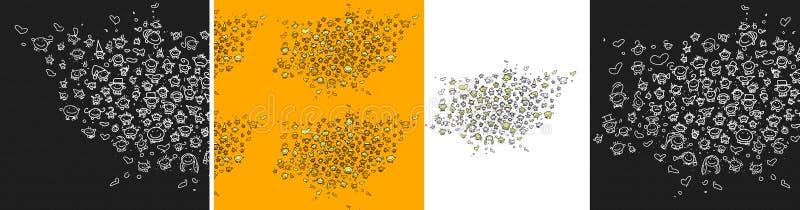 Un sistema con 50 pequeños smiley, con las expresiones divertidas y blandas para su sitio abotona ilustración del vector