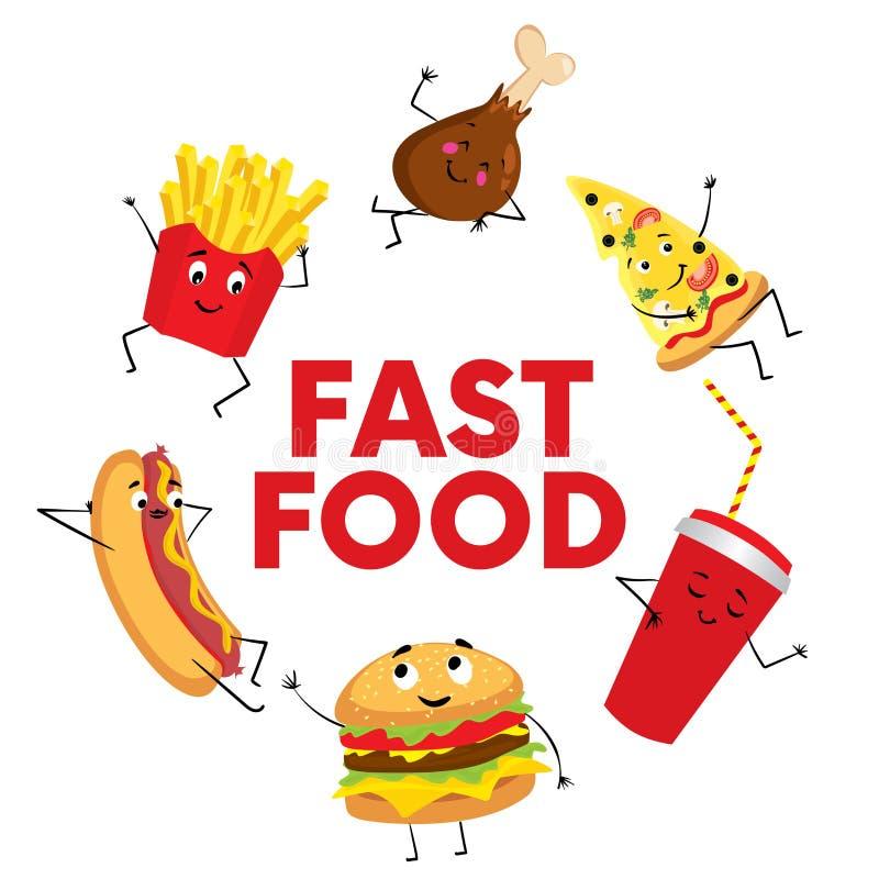 Un sistema de alimentos de preparación rápida coloridos bajo la forma de caracteres Perrito caliente, cheeseburger o hamburguesa, stock de ilustración