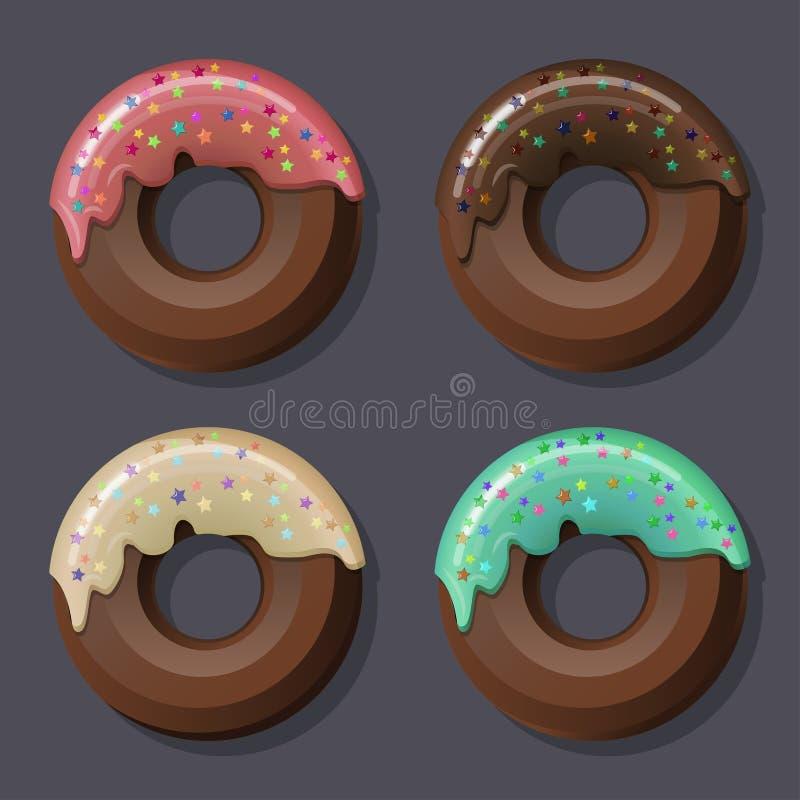 Un sistema de 4 anillos de espuma del chocolate vertió con la diversa formación de hielo y el desmoche dulce libre illustration