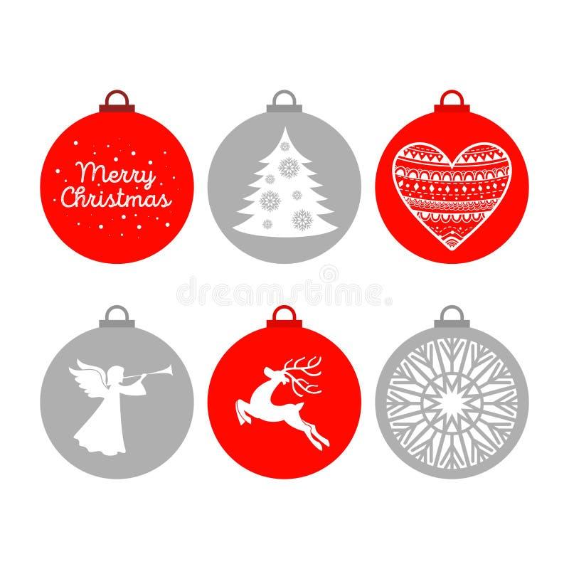 Un sistema de bolas de la Navidad con los ornamentos y los elementos decorativos del diseño ilustración del vector