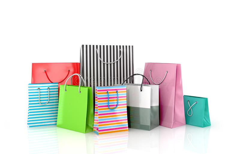 Un sistema de bolsas de papel coloreadas stock de ilustración
