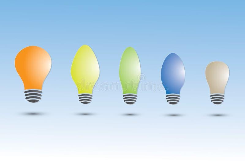 Un sistema de bombillas coloridas con diversos tamaño y forma en fondo azul ilustración del vector