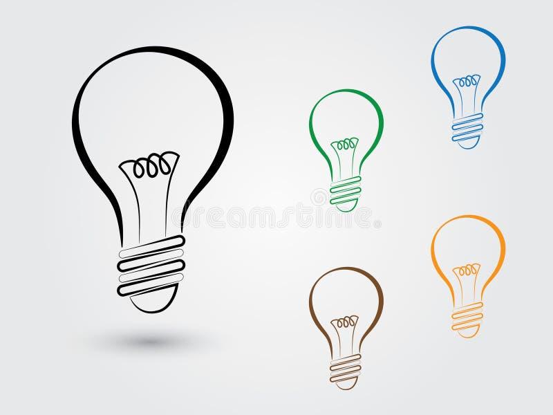 Un sistema de bombillas coloridas en el fondo blanco para la idea y la reunión de reflexión innovadoras libre illustration