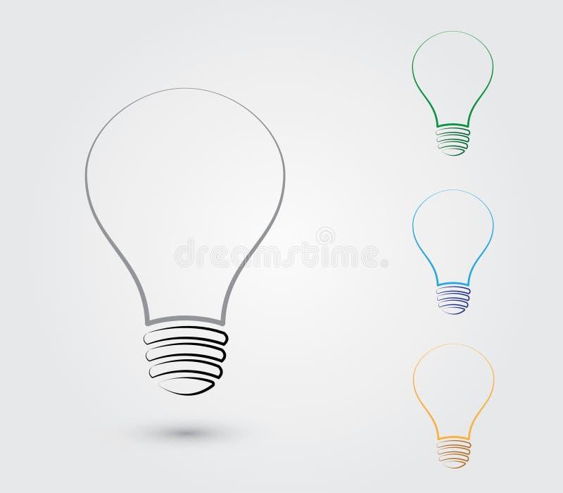 Un sistema de bombillas con diversos colores para representar la idea para el negocio y la organización stock de ilustración