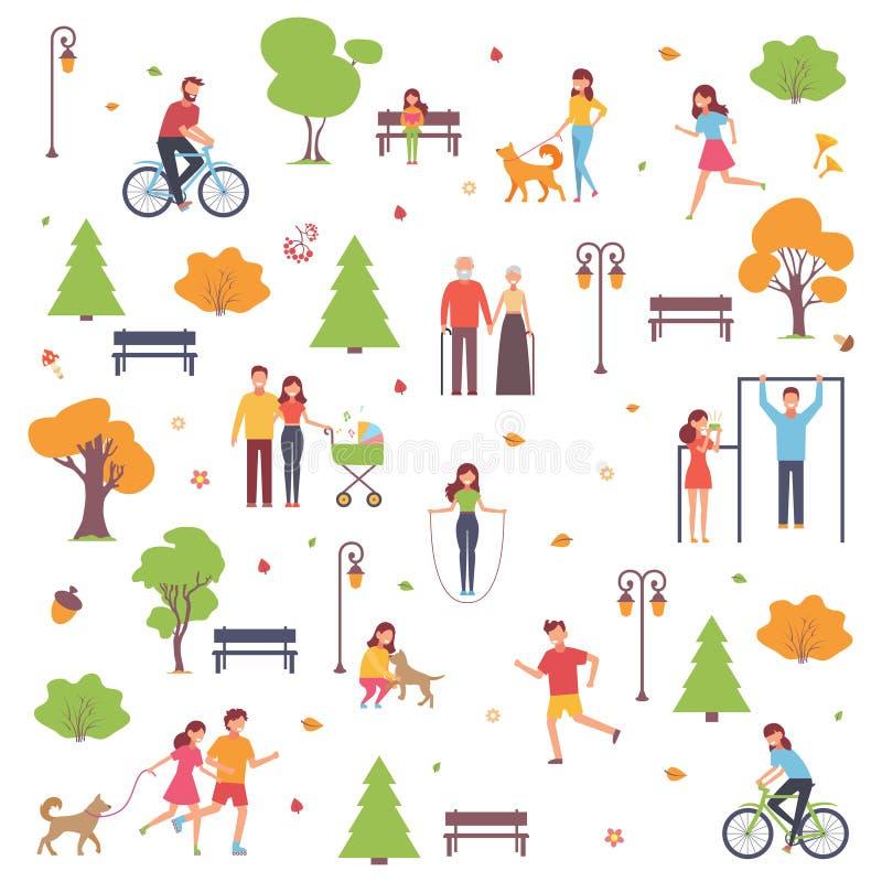 Un sistema de caracteres camina en el parque en la estación del otoño Fondo con la gente Ejemplo del vector en estilo simple ilustración del vector