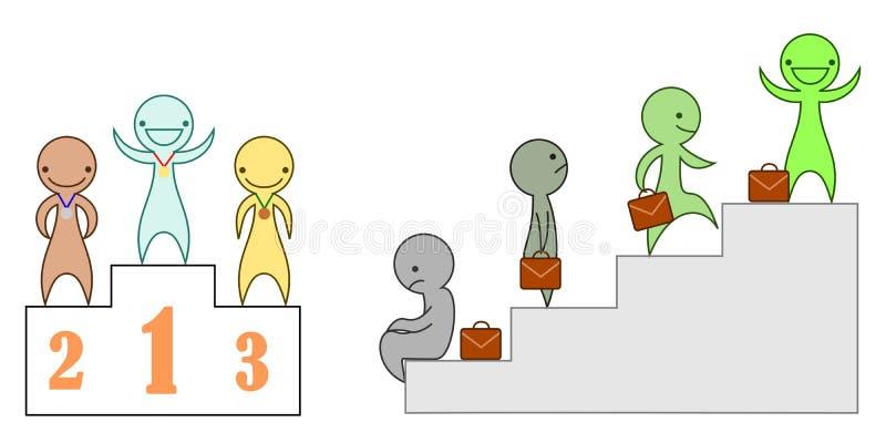 Un sistema de caracteres del vector que representan éxito libre illustration