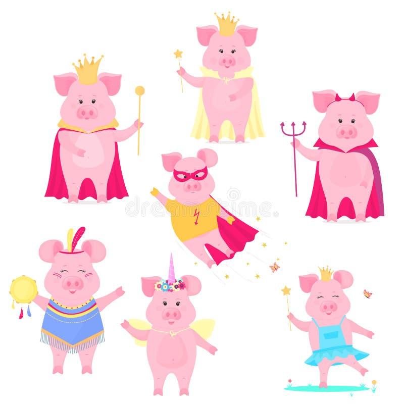 Un sistema de caracteres divertidos del cerdo El rey y la reina, unicornio, super héroe, diablo en Halloween Guarro lindo Cerdo d ilustración del vector