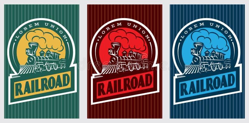 Un sistema de carteles retros coloridos con una locomotora del vintage stock de ilustración