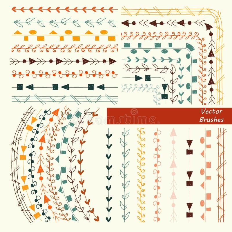 Un sistema de cepillos modelados Pintado a mano Gráficos de vector ilustración del vector
