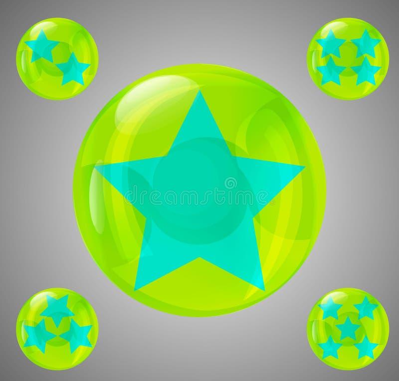 Un sistema de cinco bolas brillantes con las estrellas a partir de la una stock de ilustración