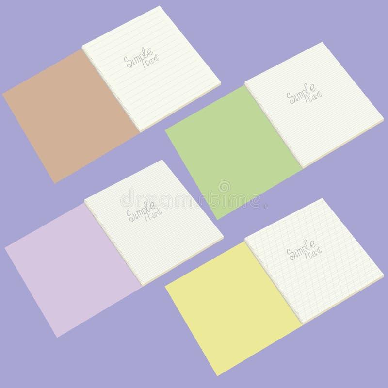 Un sistema de cuatro cuadernos de la escuela del vector stock de ilustración