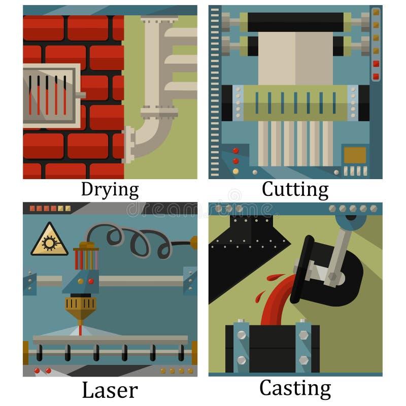 Un sistema de cuatro imágenes de tecnológico fabrica la sustancia química stock de ilustración