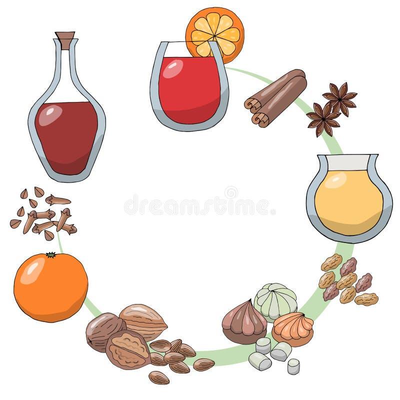 Un sistema de dibujos de bosquejo Ingredientes para el gleg Gleg, naranja, ánimo, rebanada del limón, nuez moscada moscada, palil libre illustration