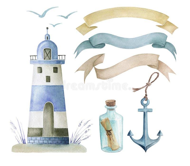 Un sistema de dibujos de la acuarela en un estilo marino stock de ilustración