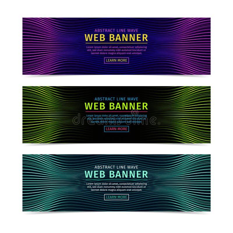Un sistema de disposiciones de la colección de las banderas del web Líneas ondeantes modernas fondo ilustración del vector