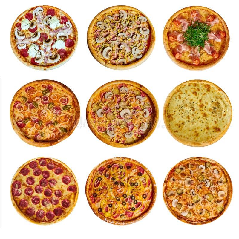 Un sistema de diversa pizza nueve para el menú, con queso, con el jamón, con el salami, con las setas, con holopina con los tomat foto de archivo