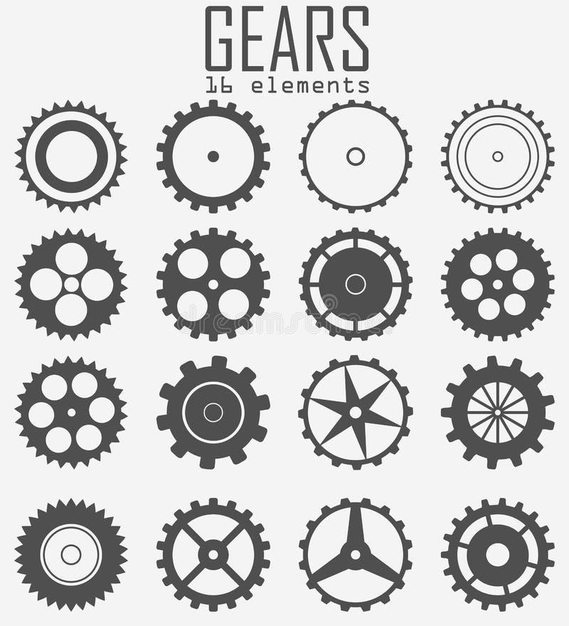 Un sistema de diversos engranajes 16 artículos mecanismos stock de ilustración