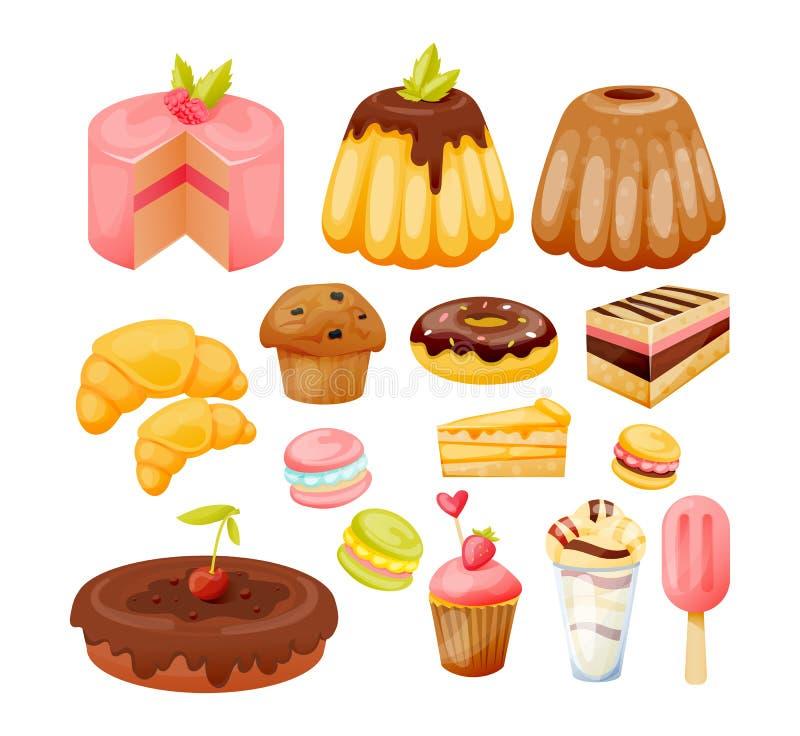 Un sistema de diversos pasteles de los dulces, deliciosos, hermosos y de postres ilustración del vector