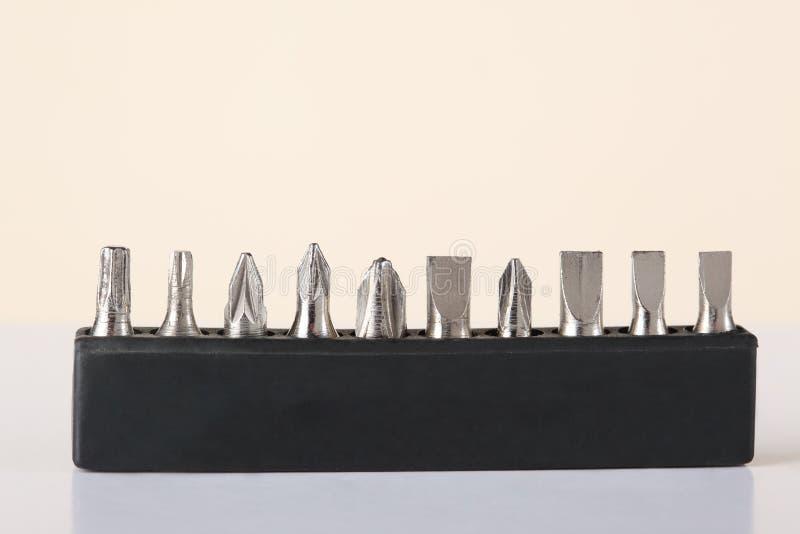 Un sistema de diversos pedazos de destornillador del tamaño imagenes de archivo