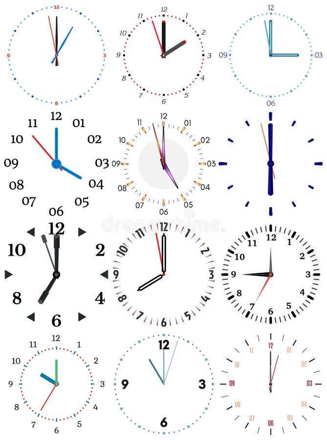 Un sistema de diversos relojes mecánicos con una imagen de cada uno de las doce horas stock de ilustración