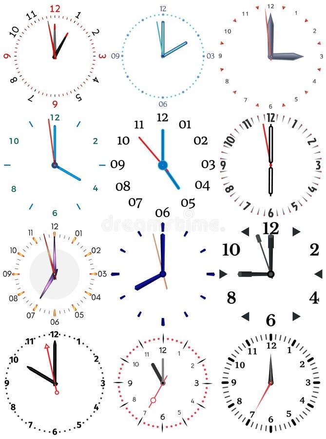 Un sistema de diversos relojes mecánicos con una imagen de cada uno de las doce horas ilustración del vector