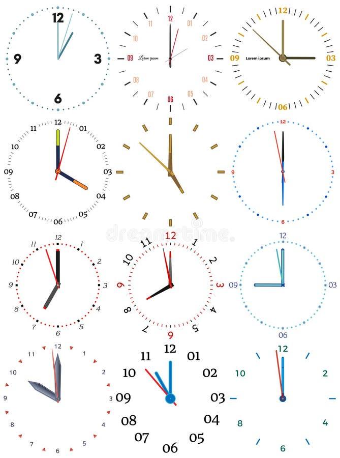 Un sistema de diversos relojes mecánicos con una imagen de cada uno de las doce horas libre illustration