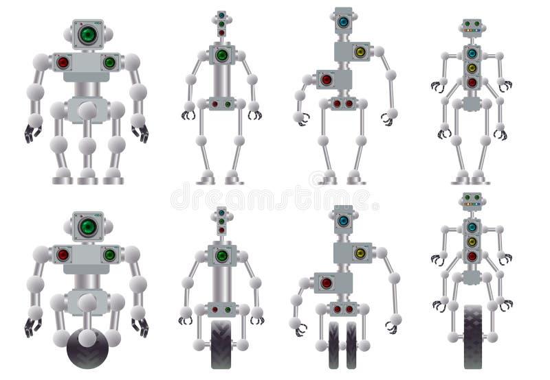 Un sistema de diversos robots humanoid Ilustraci?n del vector stock de ilustración