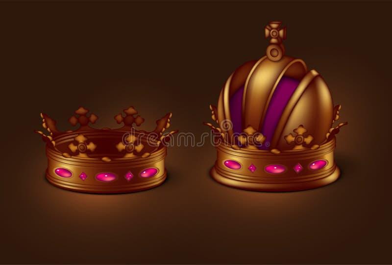 Un sistema de dos coronas imperiales del oro de diversas formas vector 3d Ejemplo realista arriba detallado libre illustration