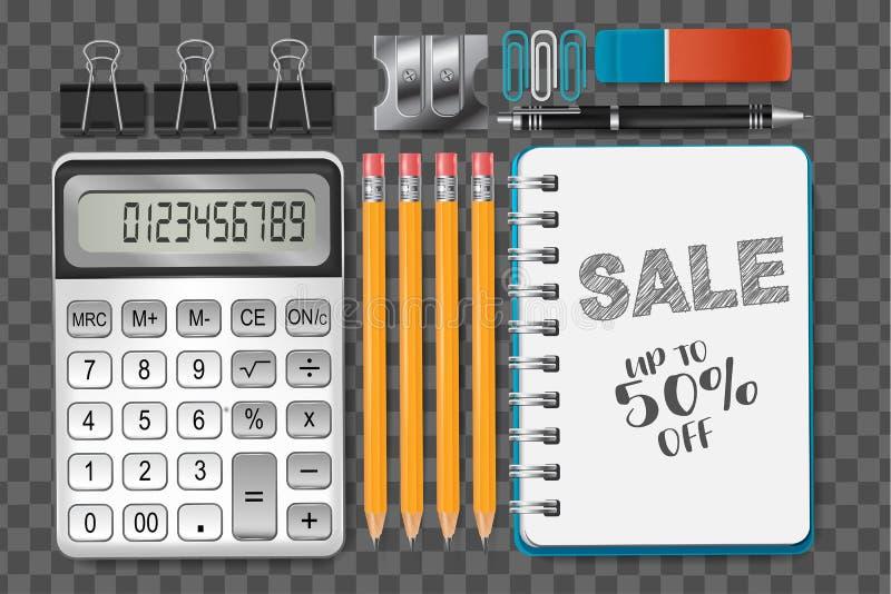Un sistema de efectos de escritorio de la escuela o de objetos realistas de los materiales de oficina en fondo transparente Ilust stock de ilustración