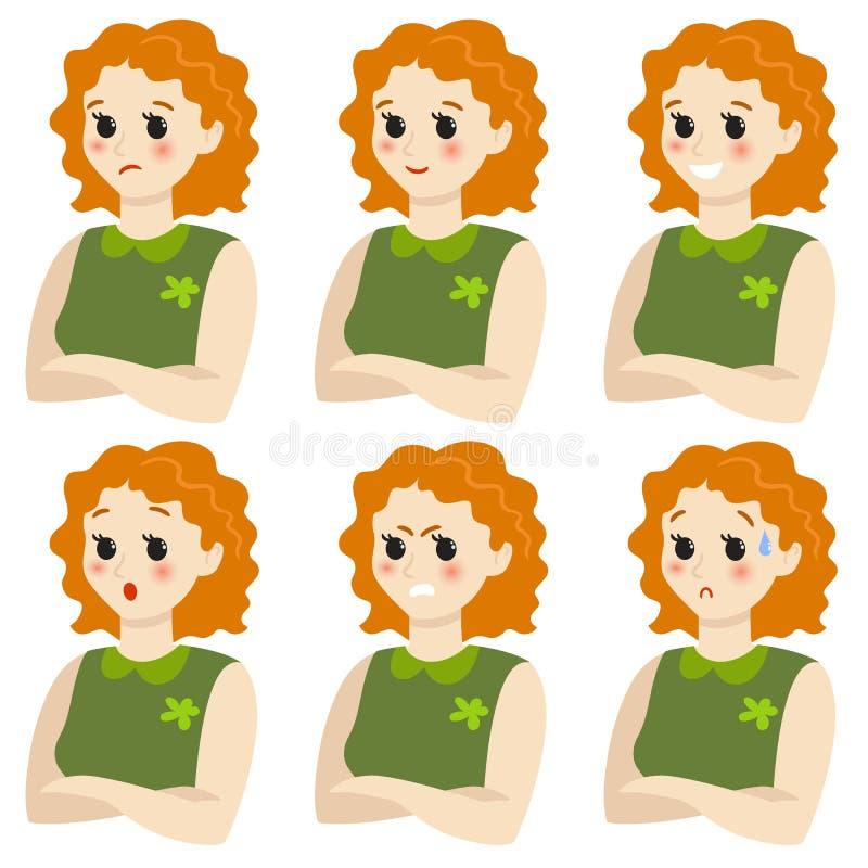 Un sistema de emociones femeninas Gesto Chica ilustración del vector