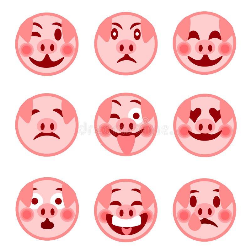 Un sistema de emoticons sonrientes feliz cerdo Ilustración stock de ilustración