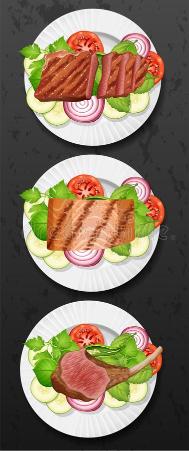 Un sistema de filete y de ensalada libre illustration