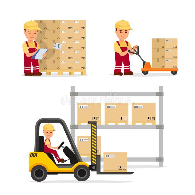 Un sistema de gente del vector en el campo de la logística, del almacenamiento del cargo y de la entrega Trabajador de Warehouse  libre illustration