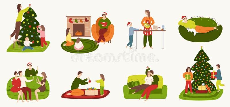 Un sistema de gente implicada en preparación para las vacaciones de invierno y la reclinación en casa ilustración del vector