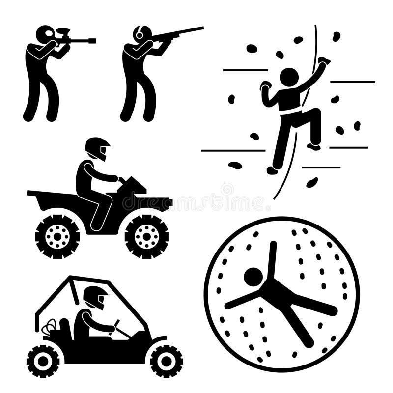 Juego duro extremo para el pictograma del hombre ilustración del vector