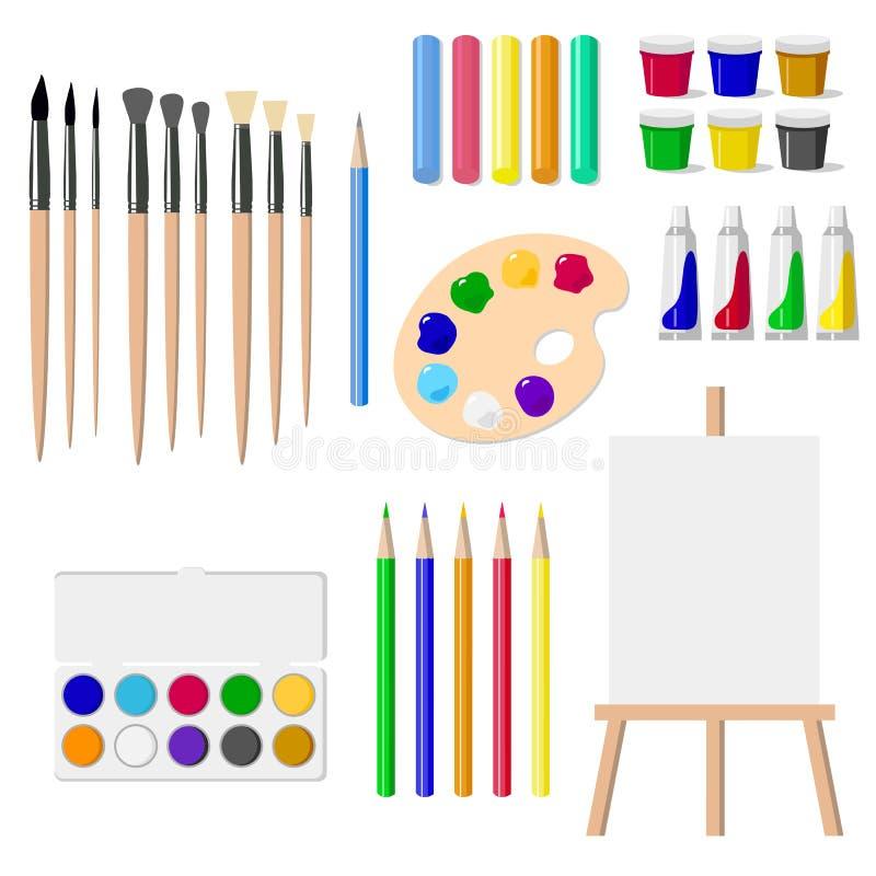 Un sistema de herramientas de dibujo: un caballete, pinturas, cepillos, lápices, creyones, aisló objetos en el ejemplo blanco del stock de ilustración