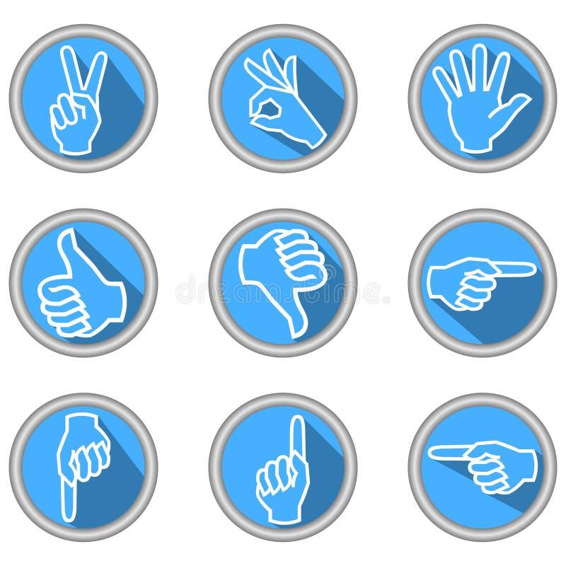 Un sistema de iconos con gestos de mano en diseño plano moderno con la sombra larga stock de ilustración