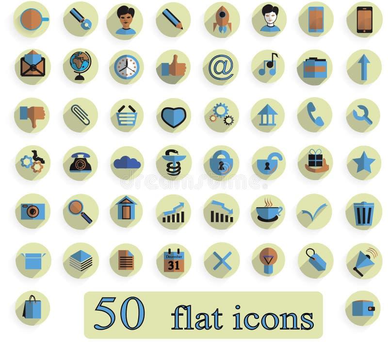 Un sistema de iconos creativos planos en el fondo blanco 50 junta las piezas libre illustration