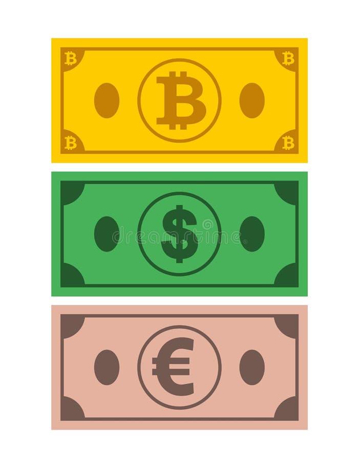 Un sistema de iconos del bitcoin de los billetes de banco, dólar, euro en el fondo blanco aislado Símbolos de monedas en estilo p libre illustration
