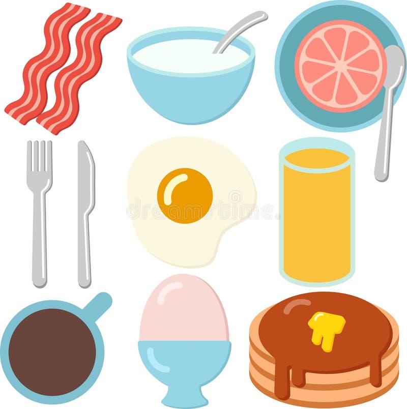 Un sistema de iconos del desayuno imagenes de archivo